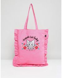 Lazy Oaf | Cat Lady 3d Embroidered Frill Edge Tote Bag | Lyst