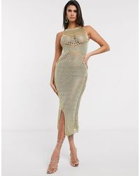 Never Fully Dressed - Сетчатое Платье Макси -золотой - Lyst