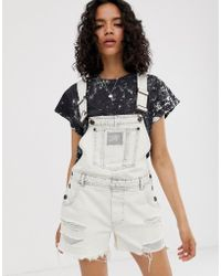 2a12796af Cheap Monday - Organic Cotton Chore Denim Dungaree Shorts With Distressing  - Lyst