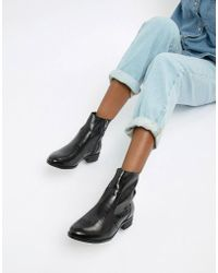 Office - Ashleigh Black Leather Calf Croc Boots - Lyst