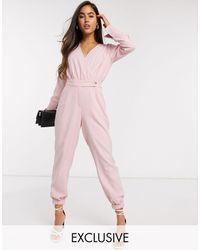 Y.A.S – Wickel-Jumpsuit - Pink