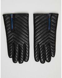ASOS Wattierte Lederhandschuhe in Schwarz mit Reißverschluss