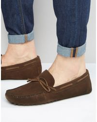 ASOS - Driving Shoes In Brown Suede With Tie Front - Lyst