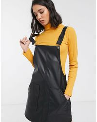 ONLY Faux Leather Pinafore Dress - Black