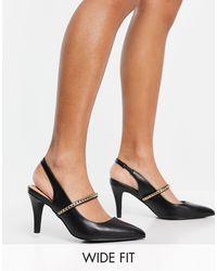 New Look - Черные Туфли-лодочки С Цепочкой Для Широкой Стопы -черный Цвет - Lyst