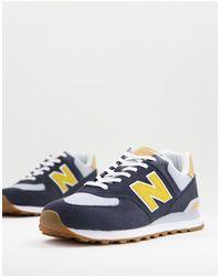 New Balance Кроссовки Темно-синего/желтого Цвета 574-темно-синий