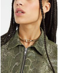TOPSHOP Chunky Chain Choker Necklace With Clip Fastening - Metallic