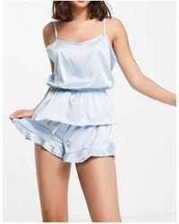 Miss Selfridge – pyjama-set aus satin - Blau