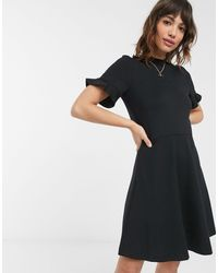 French Connection Fit And Flare Mini Dress With Ruffle Sleeve - Black