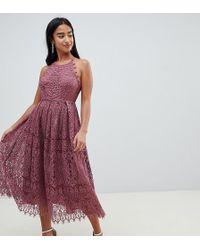 ASOS - Asos Design Petite Lace Pinny Scallop Edge Prom Midi Dress - Lyst