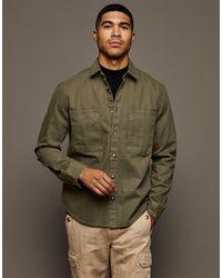 TOPMAN Herringbone Overshirt - Green