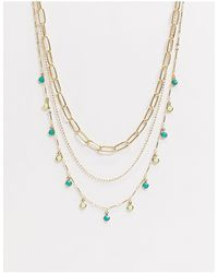 ASOS Multirow Necklace With Open Link Chain And Tiny Green Stone Charms - Metallic
