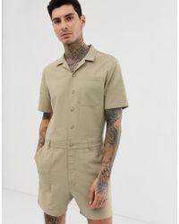 ASOS Mono estilo worker corto uniformado de corte slim de lona con lavado a la piedra - Neutro