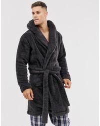 ASOS Lounge Fleece Dressing Gown - Gray
