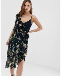 Bershka One Sleeve Floral Tea Dress - Black