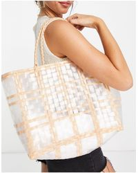Truffle Collection Wicker Woven Oversized Tote - White