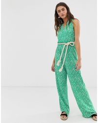 ONLY Wrap Floral Jumpsuit - Green