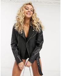 Barneys Originals Barney's Originals Emma Real Leather Jacket With Belt - Black