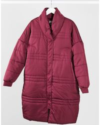 Native Youth Longline Puffer Jacket - Red