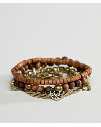 Icon Brand - Brown Beaded & Chain Bracelets In 4 Pack - Lyst