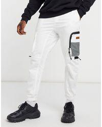 Bershka Multi Pocket Cargo joggers - White