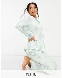 Chelsea Peers Мятно-зеленый Пижамный Комплект Из Рубашки И Брюк С Принтом Ананасов Petite-зеленый Цвет
