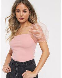 New Look Organza Sleeve Top - Pink