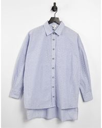 River Island Голубая Oversized-рубашка С Отделкой Металлизированной Нитью -голубой - Синий