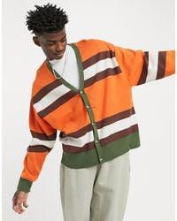 ASOS Knitted Oversized Stripe Cardigan - Orange