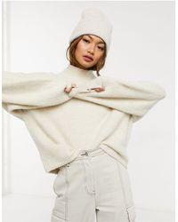 Weekday Aino High Neck Oversize Sweater - Natural