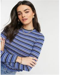 10 Crosby Derek Lam Lilika Ruffle Trim Stripe Sweater - Blue