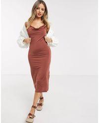 Pieces Платье-комбинация Миди Со Свободным Воротом -коричневый