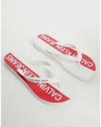Calvin Klein Белые Шлепанцы С Логотипом Errol - Красный