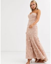 Jarlo Bandeau Lace Embroided Maxi Dress With Fishtail - Natural