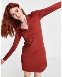 Vila V Neck Jersey Dress - Brown