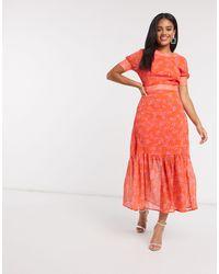 Never Fully Dressed - Красное Платье Миди С Цветочным Принтом -мульти - Lyst