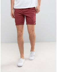 ASOS - Slim Chino Shorts In Berry - Lyst