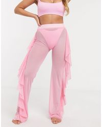 ASOS Jersey Sheer Mesh Frill Beach Pant - Pink