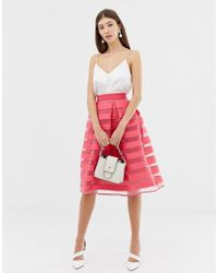 Closet Closet Stripe Pleat Full Skirt - Pink