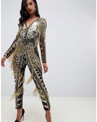 ASOS - Sequin & Fringe Cut Out Jumpsuit - Lyst
