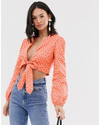 Glamorous Plunge Wrap Top In Ditsy Floral - Pink