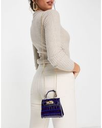 Truffle Collection Micro Mini Croc Grab Bag With Chain - Blue