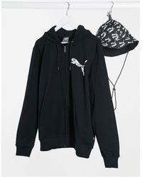 PUMA Felpa con cappuccio e zip nera - Nero