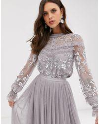 Needle & Thread Серая Блузка С Вышивкой, Пуговицами И Прозрачными Рукавами -серый