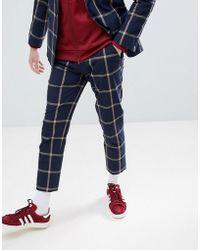 ASOS Skinny Crop Suit Trousers In Navy Seersucker Windowpane Check - Blue