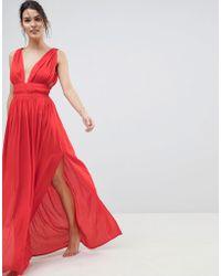 ASOS - Grecian Plunge Maxi Woven Beach Dress - Lyst