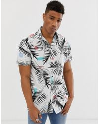 Jack & Jones Originals Relaxed Revere Collar Shirt With All Over Print In White