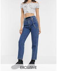 Collusion X006 - Mom jeans con catena e linguetta a strappo - Blu
