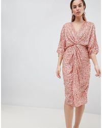 ASOS Scatter Sequin Knot Front Kimono Midi Dress - Multicolor