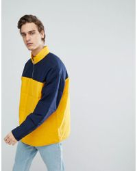 ASOS - Oversized Quilted Half Zip Track Sweatshirt With Colour Blocking - Lyst